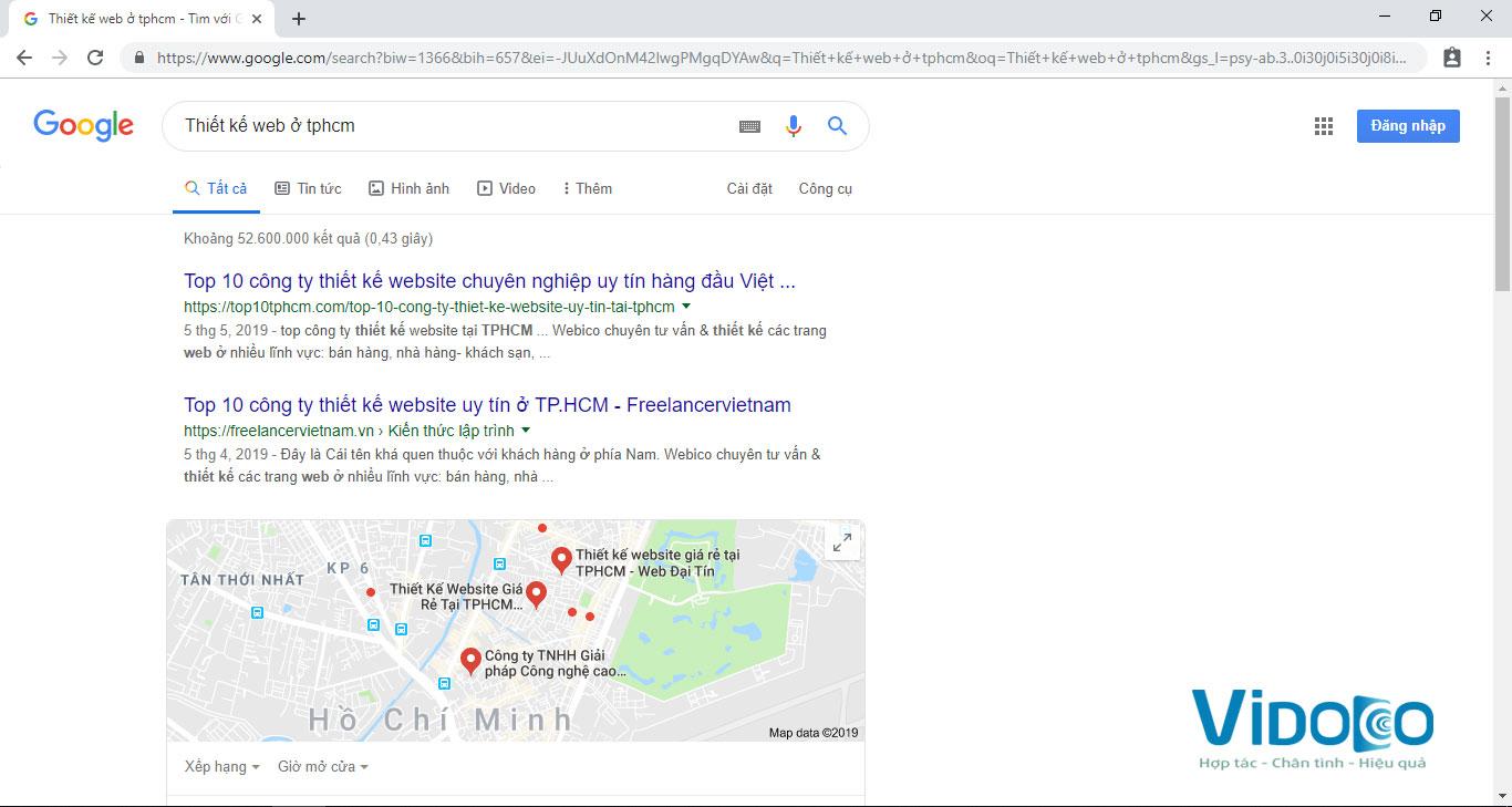 Nhập từ khóa lên google